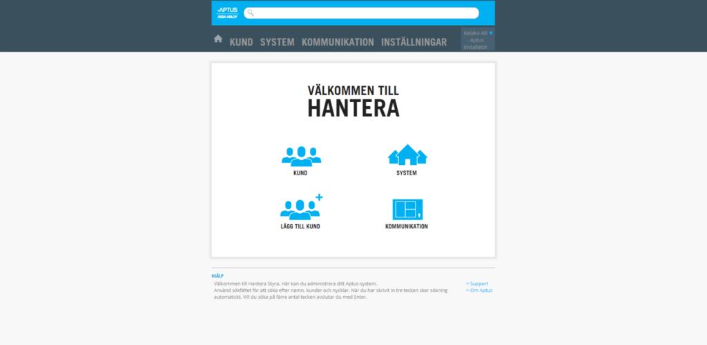 Inloggad i Hantera Styra, administration via webbläsaren.